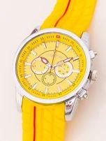 Zegarek męski żółty z ozdobnym chronografem i wzorem bieżnika na pasku                                   zdj.                                  3
