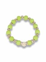 Zielona Bransoletka koralikowa z kulką schamballa                                  zdj.                                  1