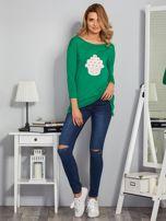 Zielona asymetryczna bluzka z babeczką                                  zdj.                                  4