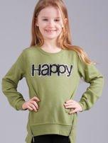 Zielona bluza dziewczęca z aplikacją                                  zdj.                                  1