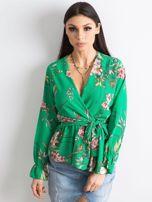 Zielona bluzka w kwiaty z falbaną                                  zdj.                                  5