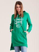 Zielona długa bluza z kapturem I NEED COFFEE                                  zdj.                                  1