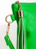 Zielona kopertówka z dżetami napis LUCY WORLD                                                                          zdj.                                                                         4