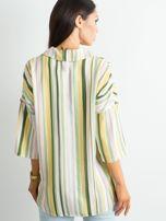 Zielona koszula w kolorowe paski                                   zdj.                                  2