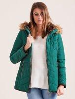 Zielona kurtka zimowa z futrzanym kapturem i kołnierzem                                  zdj.                                  6