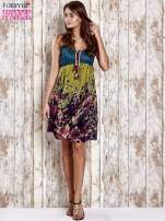 Zielona kwiatowa sukienka z kolorowymi troczkami                                                                          zdj.                                                                         2