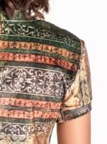 Zielona mini sukienka w patchworkowy wzór                                  zdj.                                  6
