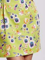 Zielona rozkloszowana sukienka w białe kwiaty                                                                          zdj.                                                                         5