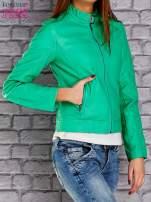 Zielona skórzana kurtka o klasycznym kroju                                  zdj.                                  3