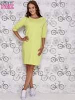 Zielona sukienka dresowa z suwakiem z tyłu                                                                          zdj.                                                                         2