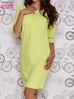 Zielona sukienka dresowa z suwakiem z tyłu                                  zdj.                                  1