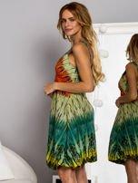 Zielona sukienka dzienna na ramiączka w stylu etno                                  zdj.                                  5