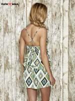 Zielona sukienka na gumkę w geometryczne wzory Funk n Soul                                  zdj.                                  2