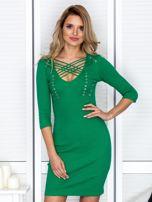 Zielona sznurowana sukienka w prążek                                  zdj.                                  1