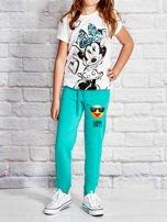 Zielone spodnie dresowe dla dziewczynki z napisem HAPPY                                  zdj.                                  4