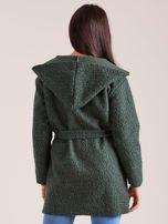 Zielony dzianinowy płaszcz z kapturem                                  zdj.                                  2