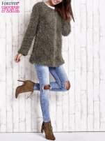 Zielony futrzany sweter kurtka na suwak