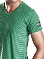 Zielony klasyczny t-shirt męski w paski Funk n Soul                                  zdj.                                  6