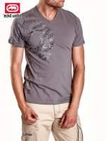 Zielony t-shirt męski ze srebrnym nadrukiem