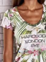 Zielony t-shirt w ananasy z egzotycznym nadrukiem i napisem                                   zdj.                                  5
