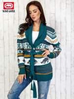 Zielony wzorzysty sweter na guziki                                  zdj.                                  3