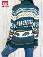Zielony wzorzysty sweter na guziki                                  zdj.                                  5
