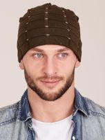 Zimowa męska czapka z dzianiny khaki                                  zdj.                                  1