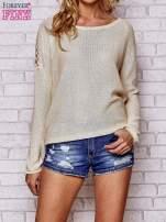 Złoty błyszczący sweter z koronkowymi wstawkami                                                                          zdj.                                                                         1