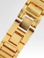 Złoty cyrkoniowy zegarek na bransolecie z ozdobą przy koronce                                  zdj.                                  4