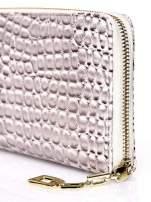 Złoty portfel kopertówka z motywem skóry krokodyla                                                                          zdj.                                                                         4