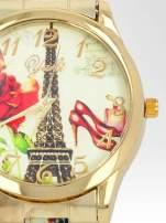 Złoty zegarek damski na bransolecie z motywem Paryża