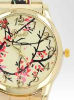 Złoty zegarek damski na bransolecie z motywem roślinnym                                                                          zdj.                                                                         6