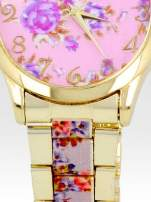 Złoty zegarek damski na bransolecie z rjasnoóżowym motywem kwiatowym                                                                          zdj.                                                                         5