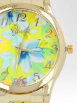 Złoty zegarek damski na bransolecie z żółtym motywem kwiatowym                                                                          zdj.                                                                         6