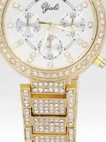 Złoty zegarek damski na bransolecie zdobiny cyrkoniami                                                                          zdj.                                                                         5