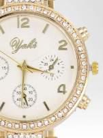 Złoty zegarek damski na cyrkoniowej bransolecie