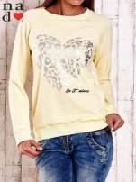 Żółta bluza z nadrukiem serca i napisem JE T'AIME                                   zdj.                                  1