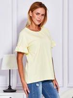 Żółta bluzka z falbanami na rękawach                                  zdj.                                  3