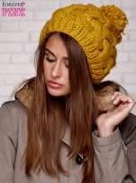 Żółta dziergana czapka z pomponem                                                                           zdj.                                                                         3