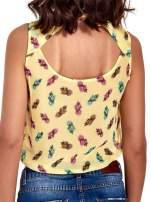 Żółta koszula z wiązaniem w ananasy                                  zdj.                                  6