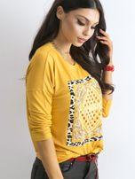 Żółta luźna bluzka z nadrukiem i aplikacją                                  zdj.                                  3