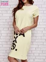 Żółta sukienka dresowa z napisem BLACKED                                                                          zdj.                                                                         4