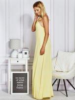 Żółta sukienka maxi z wiązaniem na szyi                                  zdj.                                  3