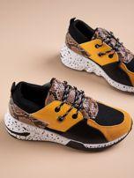 Żółte buty sportowe z wstawką w wężowy print                                  zdj.                                  5