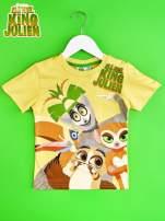 Żółty t-shirt chłopięcy z nadrukiem KRÓL JULIAN                                  zdj.                                  1