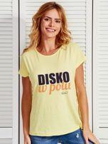 Żółty t-shirt damski DISKO W POLU by Markus P                                  zdj.                                  1