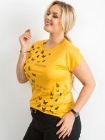 Żółty t-shirt damski z nadrukiem PLUS SIZE                                  zdj.                                  5