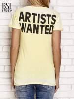Żółty t-shirt z literą A                                                                          zdj.                                                                         4
