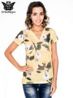 Żółty t-shirt z nadrukiem all over floral print                                                                          zdj.                                                                         1