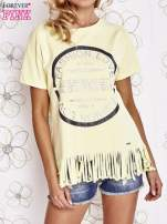 Żółty t-shirt z nadrukiem i frędzlami